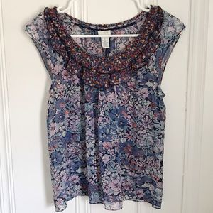 Anthropologie Odile Blue Floral Silk Top 2